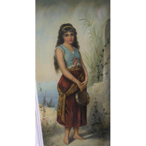 618 - E Joli, late 19thC, full length oil on canvas portrait of an Arab girl, signed, in original ornate f...
