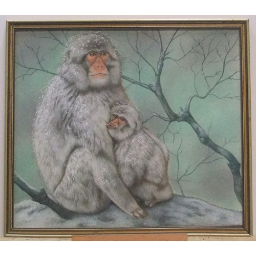 488 - Unsigned vintage watercolour portrait of 2 Japanese snow monkeys, framed,  27 x 31 cm...
