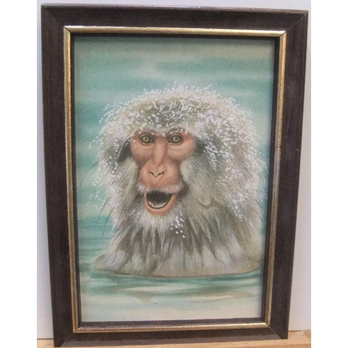 489 - Unsigned vintage watercolour portrait of a young Japanese snow monkey in water, framed,  14 x 9 cm...