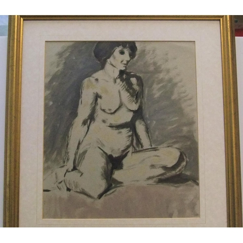 322 - Unsigned, post-impressionist oil on board, of a naked women posing, framed,  33 x 30 cm  Fine and cl...