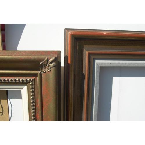 302 - 2 large, 20thC plain wood frames,  Smallest 46 x 67 cm,  largest 54 x 74 cm...