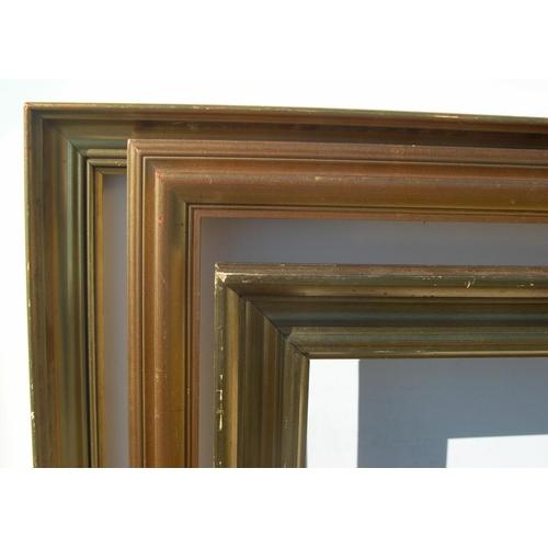 303 - 3 large, 20thC gold coloured wood frames,  Internal measurements are - 46 x 66 cm, 44 x 75 cm, 57 x ...