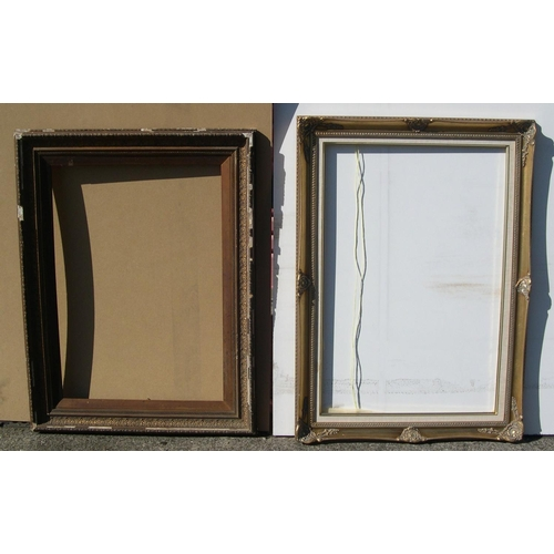 304 - 2 large frames, 1 old gesso (a/f), the other later 20thC,   Internal measurements are - 48 x 69 cm &...