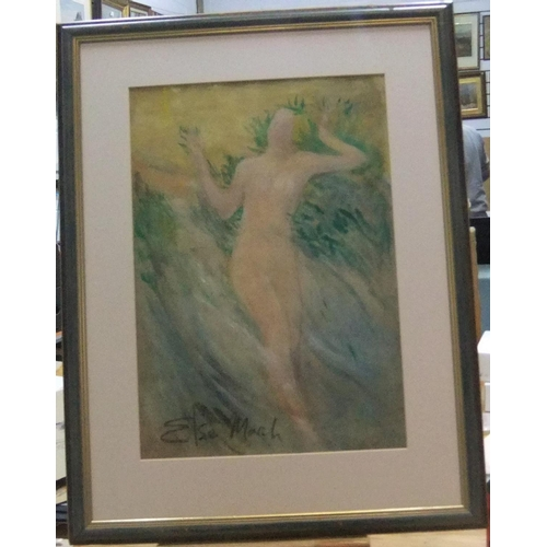 443 - Large, Elsie MARCH (1884-1974) impressionist watercolour, Naked woman in landscape, signed, framed, ...
