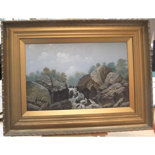 416 - Pair of unsigned antique oil on artist boards, country scenes in original matching frames,  Both mea...