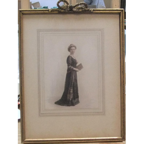 444 - Unsigned watercolour, full-length portrait of a lady, circa 1920, framed,  20 x 15 cm...