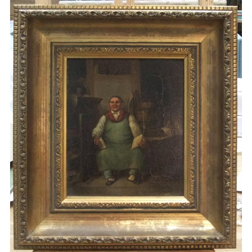 445 - Unsigned 19thC oil on metal