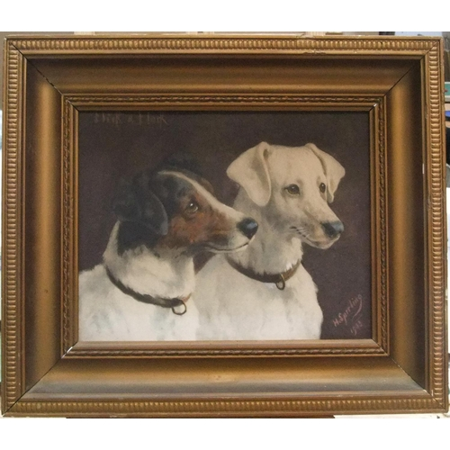 479 - H Sperling, antique portrait picture of 2 Jack Russell Terriers, in original frame,  23 x 20 cm...