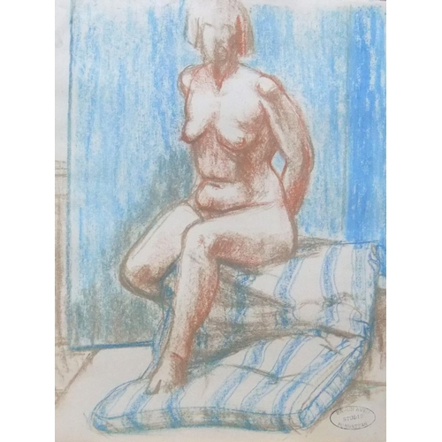 425 - Baron Avro, pastel portrait of a seated naked lady, framed,  47 x 36 cm,  Fine and clean...