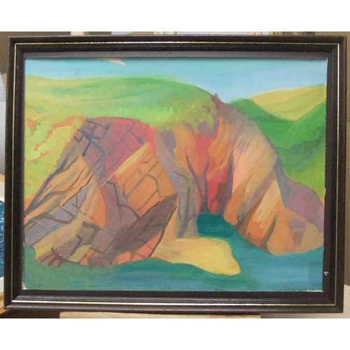 480 - early, Maurice COLASSON (1911-1992) gouache, rocky coastal landscape, studio stamped, framed,  30 x ...