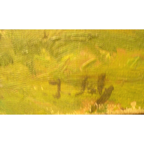 450 - Jeanne JOLY, mid 20thC French impressionist oil, country landscape, signed, unframed,  33 x 41 cm  U...