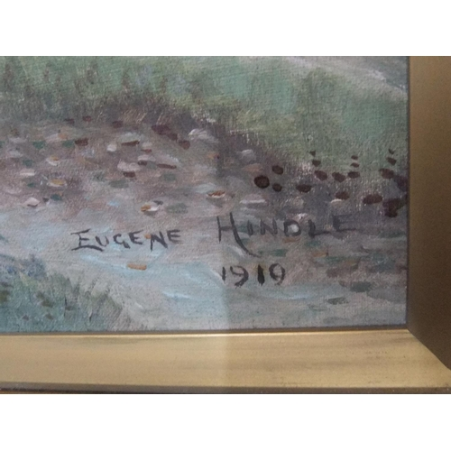 332 - Pair of Eugene Hindle 1919 naive school oil on canvas,