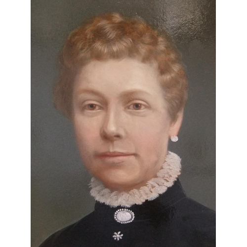 333 - Unsigned, large oil portrait of a middle-aged lady, circa 1900 in original, plain gilt frame,   57 x...