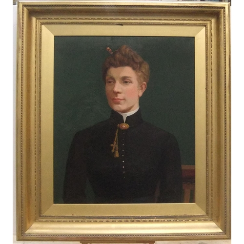 334 - Unsigned, large oil on artists board, portrait of a young lady, circa 1900 in original, plain gilt f...