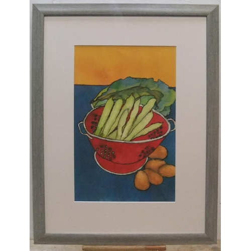 335 - Judy Hill 2004 modernist still-life picture of vegetables, framed  49 x 31 cm  Fine, clean condition...