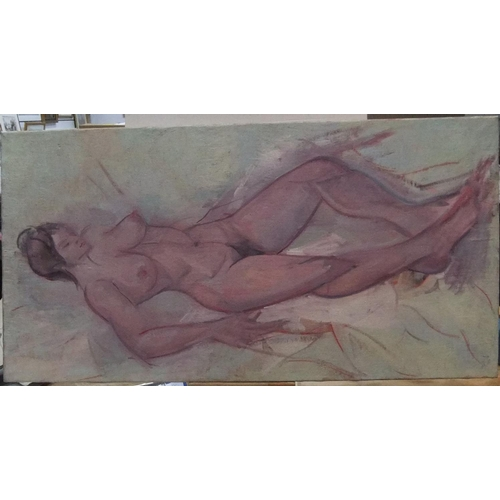337 - Large A E HANCE modernist oil on canvas,