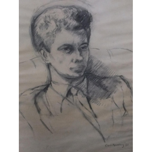 339 - 4 pictures by differing artists including a 1961 charcoal portrait by Ceri BARCLAY (Wales born 1937)...