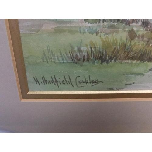 341 - Henry Hadfield CUBLEY (1858-1934) watercolour, Marshland landscape, framed,  25 x 35 cm  Fine condit...