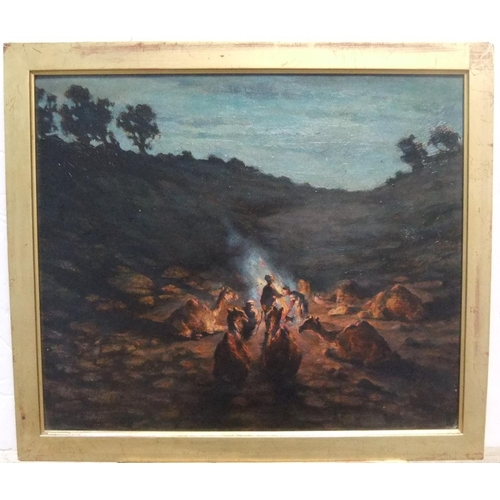 483 - Indistinctly signed 1914 Middle east oil on board, painting depicting Arabs & camels around a camp f...
