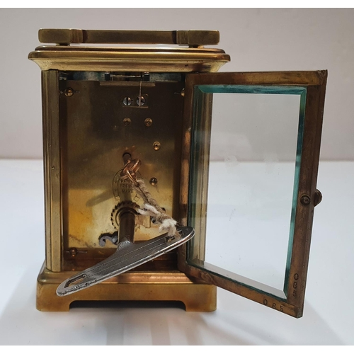 233 - Antique French carriage clock compete with case & 2 keys,  13 cm high...