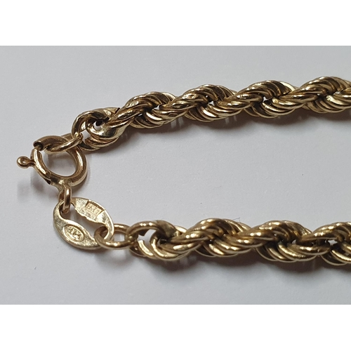 37 - 9ct yellow gold, rope bracelet,   18 cm in length...
