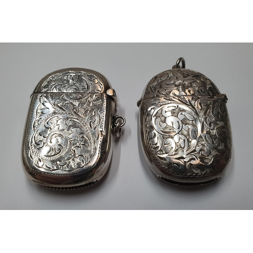 126 - 2 - Antique hallmarked silver vesta cases,  Total combined weight approx 46 grams...