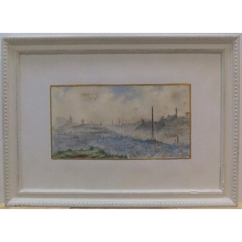 472 - Edwardian watercolour, panoramic view across a misty cityscape, possibly Edinburgh, indistinctly ini...