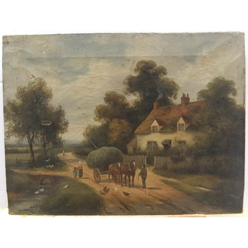 475 - Indistinctly signed, late Victorian oil on canvas,