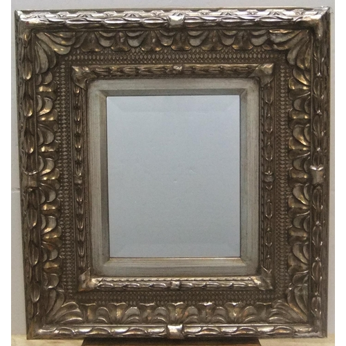 262 - Small, wide framed, silvered wood mirror,  Mirror measures 24 x 19 cm...