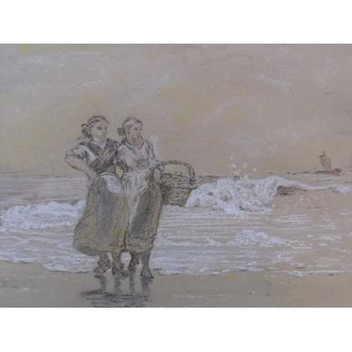 498 - PAIR of chalk drawings of peasant girls at the sea-shore, after Winslow Homer, one inscribed, both i...