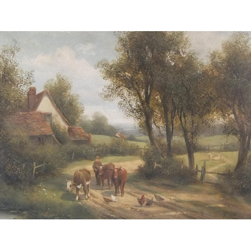 437 - 2 late 19thC/early 20thC British oil landscapes, 1 is a framed moorland track scene, the other, catt...