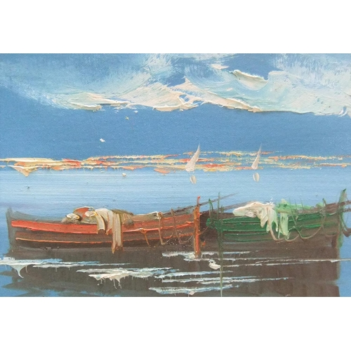 439 - A VITO, impasto oil on board painting of small Italian boats, signed, framed,  31 x 41 cm,  Fine and...