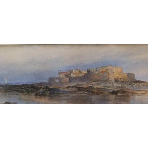 441 - Large, Edwin EARP (1851-1945) watercolour, Coastal castle, signed, mounted,  24 x 75 cm,  Generally ...