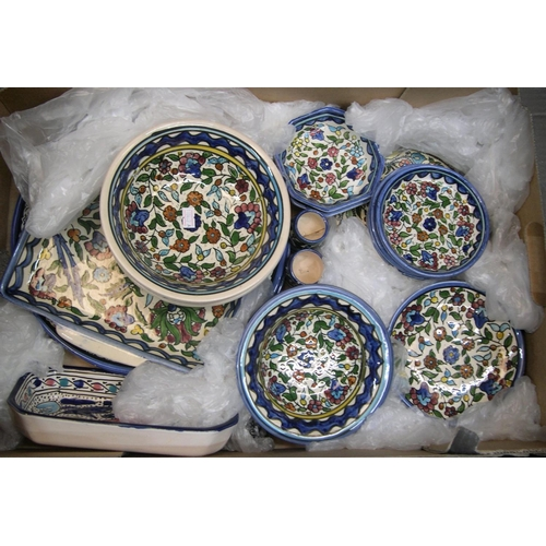 159 - 2 boxes of good quality North African crockery set & 2 large antique stoneware flagons,  Everything ...