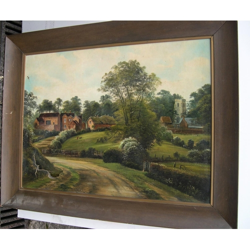 462 - 2 large old landscape oil on canvas paintings - for restoration....