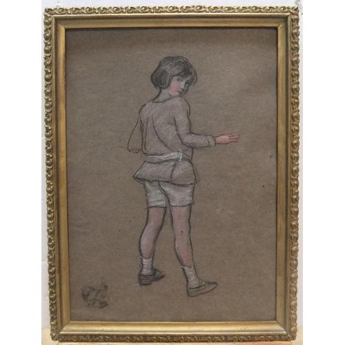 464 - Provenanced, Harry John PEARSON (1872-1933), chalks, full length portrait of the artists niece, stud...
