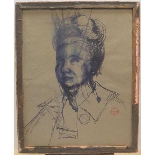 428 - Double sided Patrick Lambert LARKING (1907-1981) pen portrait of a lady, stamped, framed,  50 x 38 c...