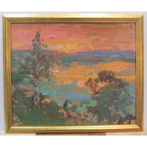 432 - Indistinctly signed, continental school oil post impressionist landscape oil in orange, framed,  37 ...