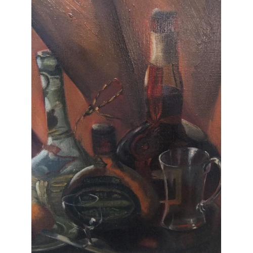 405 - Large S MURRAY BLAIR 1954 still-life with bottles oil on canvas, signed and dated, original frame,  ...
