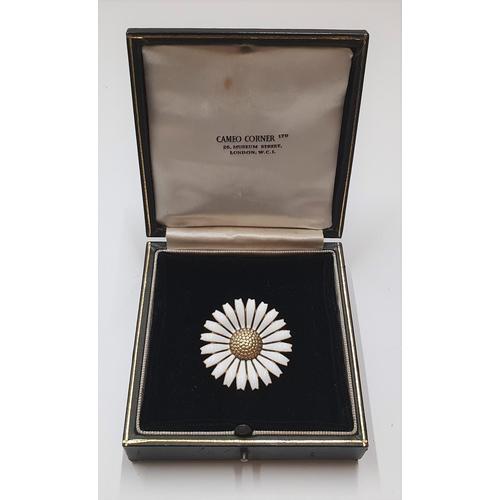 39 - Large, Georg Jensen silver & enamel daisy brooch  Stamped