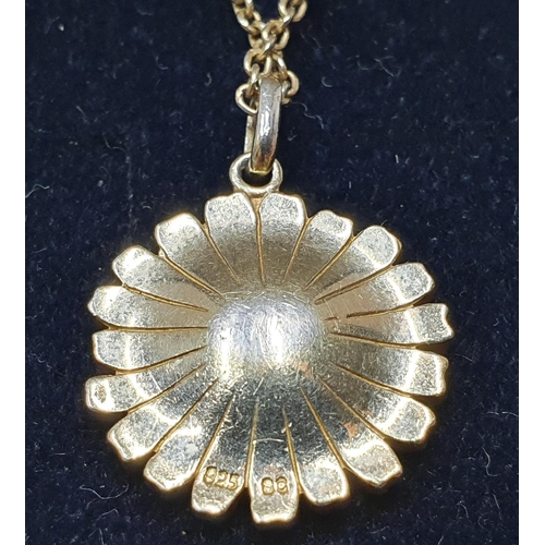 40 - Silver daisy necklace by Scrouples and a silver solitaire ring...