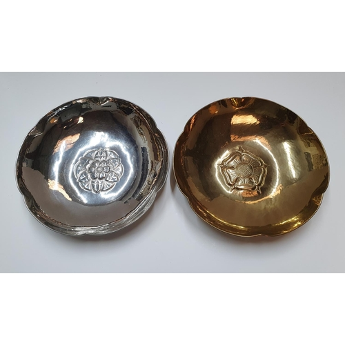 42 - 2 circular metal bowls, both with matching English rose motifs and stamped Keswick KSIA,  Both measu...