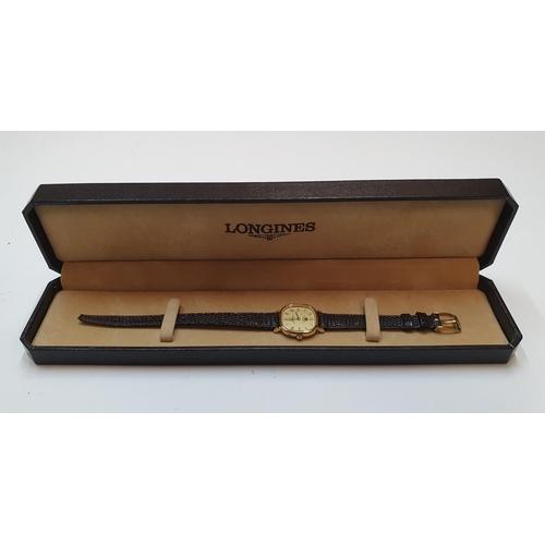 91 - Vintage King of Jordan gifted, vintage ladies Longines watch in original box which is embossed with ...
