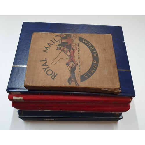 240 - 6 stamp albums (GB and world) & 1 empty quality boxed New Zealand stamp album...