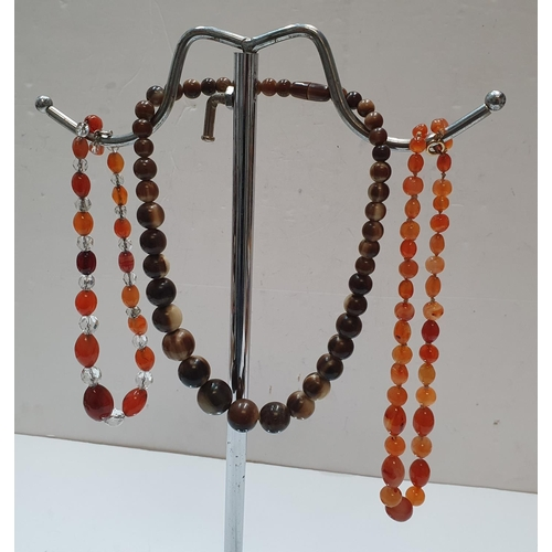 81 - 3 early/mid 20thC ladies bead necklaces, 1 early bakerlite type with good original screw fixing.  Al...