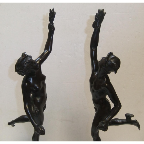 192 - High quality pair of large 19thC Continental school bronze statues on black marble plinths.  Both me...