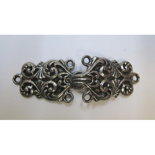 61 - Collection of antique silver & white metal earrings & pendants and 1 Norway pewter belt buckle...