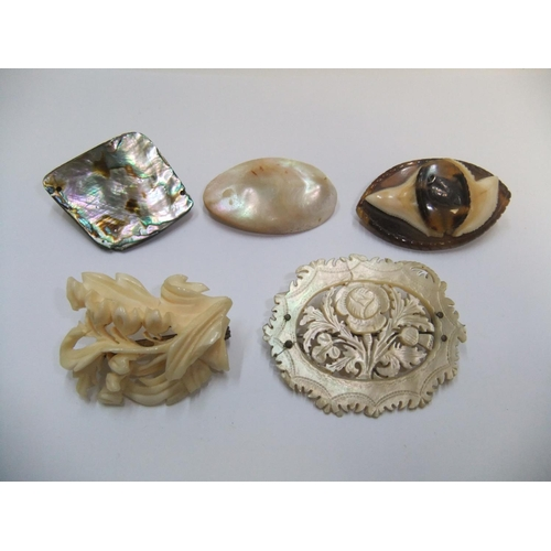 27 - 5 antique ladies brooches including finely carved ivory and mother of pearl examples...