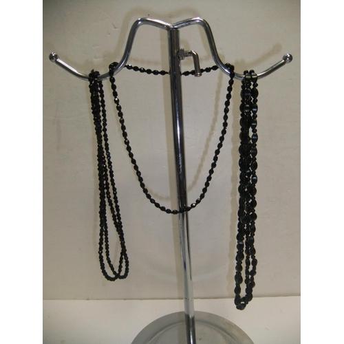 66 - 3 Victorian Whitby jet necklaces...