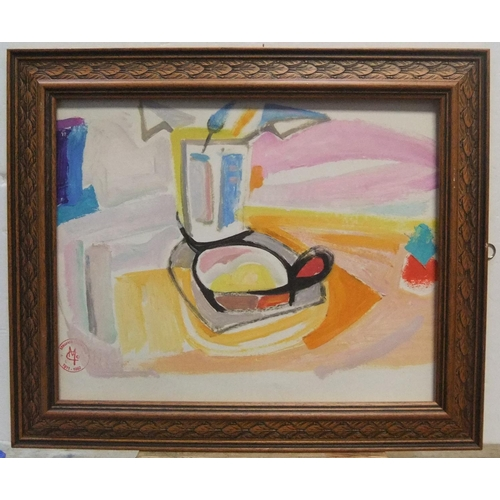 409 - Maurice COLASSON (1911-1992) cubist gouache still-life, studio stamped, framed  30 x 40 cm  Fine and...
